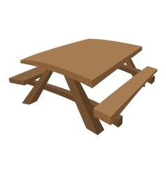 Wooden table with benches cartoon vector