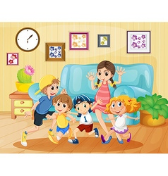 Children playing in the living room vector