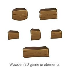 2d wooden ui elements vector