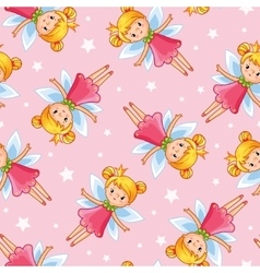 seamless of a young cute little fairy vector image