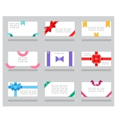 Abstract cards red gift bows ribbons set vector image
