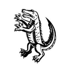 alligator standing scraperboard vector image