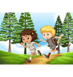 Boy and girl running in the park vector image