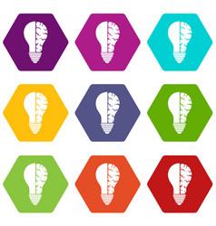 brain lamp icon set color hexahedron vector image vector image