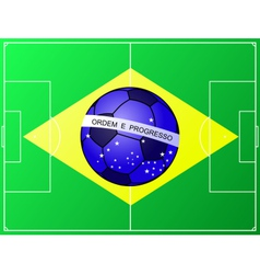 Brazilian football flag with a soccer field vector image
