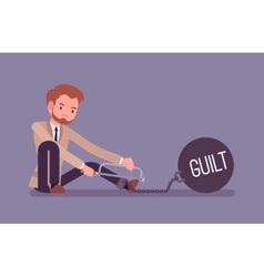 Businessman chained with a metall weight Guilt vector image