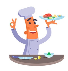 Cartoon chef holding plate with fish steak vector