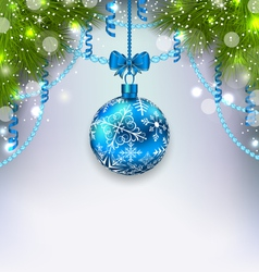 Christmas glass ball fir branches streamer copy vector