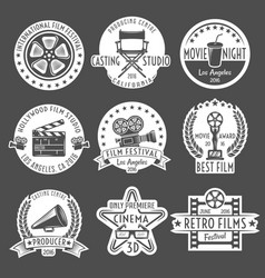 Cinema white emblem set vector