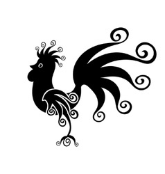 Cock black vintage fabulous silhouette pattern vector