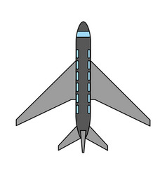 color image cartoon top view travel airplane vector image vector image
