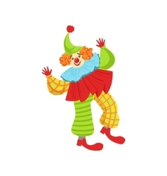 Colorful friendly clown in ruffle to classic vector