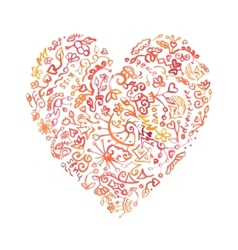 Creative doodle watercolor heart vector