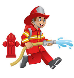 Cute cartoon of firefighter vector