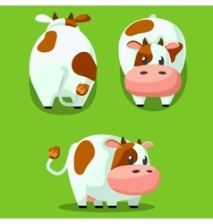 Cute round cow stylized pet funny cartoon vector