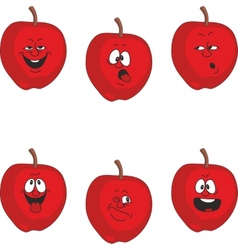 Emotion cartoon red apple set 011 vector image vector image