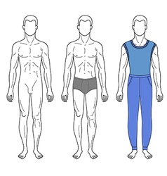 Fashion man outlined template vector