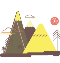 Flat colorful landscape nature mountains trees vector
