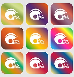 Football helmet icon sign nine buttons with bright vector