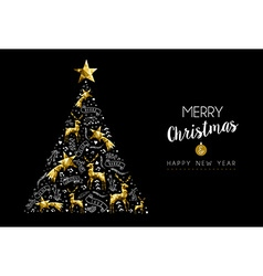 Gold christmas tree holiday decoration ornaments vector