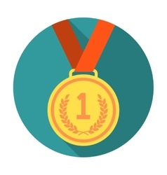 Gold medal flat icon vector image