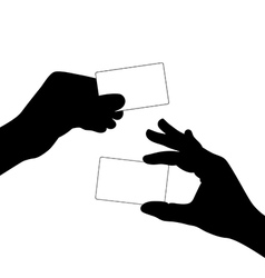 hand hold a blank card silhouette vector image vector image