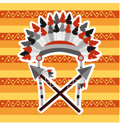 Headwear feathers with cross spears warrion native vector