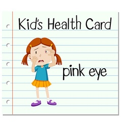 Health card with girl having pink eye vector