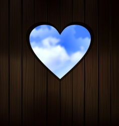 heart shape cut into wood vector image vector image