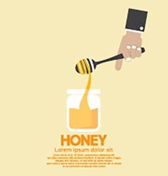 Honeys jar with drip in hand vector