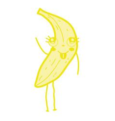 kawaii cute happy banana fruit vector image