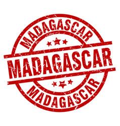 Madagascar red round grunge stamp vector