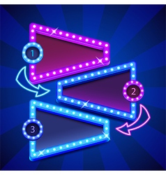 One two three steps poster with neon lights vector