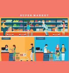 People in supermarket grocery store vector