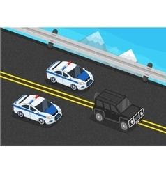 Police Motorcade Car Flat Design vector image vector image