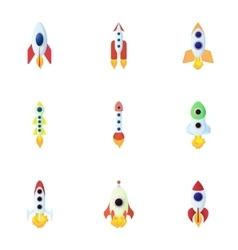 Rocket icons set cartoon style vector