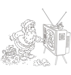 Santa turning on his tv vector