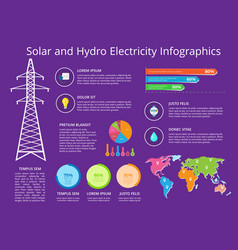 solar and hydro electricity vector image vector image