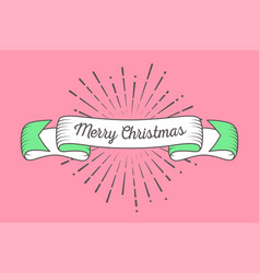 trendy retro ribbon with text merry christmas and vector image vector image