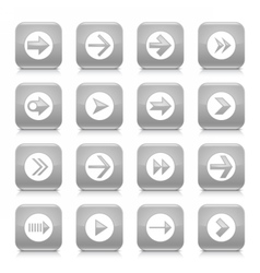 Gray arrow sign rounded square icon web button vector