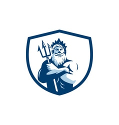 Triton trident arms crossed crest retro vector