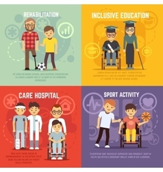 Disabled person care flat concepts set vector