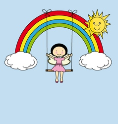 Fairy on a swing hanging from a rainbow vector