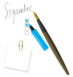 Writing pen head and signature vector
