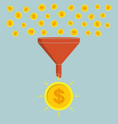 Business concept funnel converting small coins vector