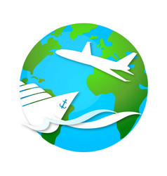 Cruise ship and airplane travel symbol vector