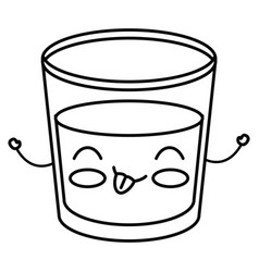 Beverage in glass cup kawaii character vector