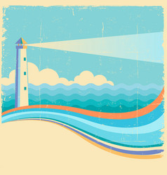 Lighthousevintage sea waves background vector