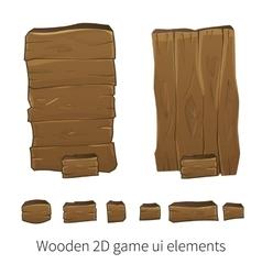 2d wooden ui elements vector