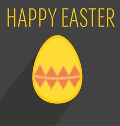 Flat easter egg with yellow wishes vector